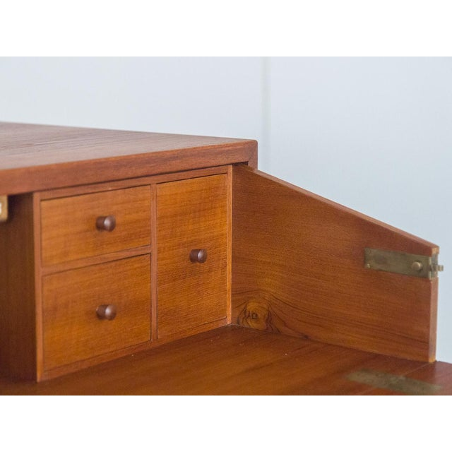 Børge Mogensen Teak Vanity with Fold Out Mirror For Sale - Image 9 of 11