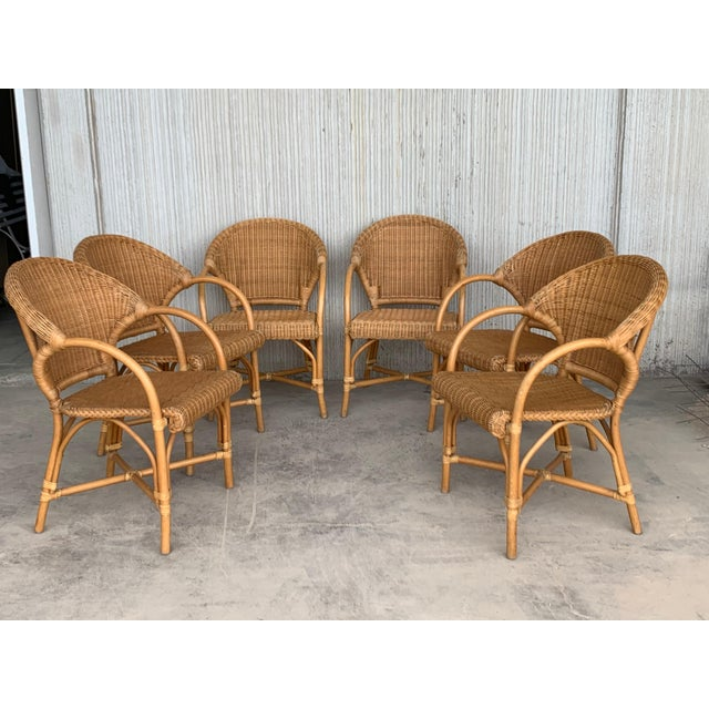 Goldenrod Midcentury Set of Six Bamboo and Rattan Dining Room Armchairs For Sale - Image 8 of 13