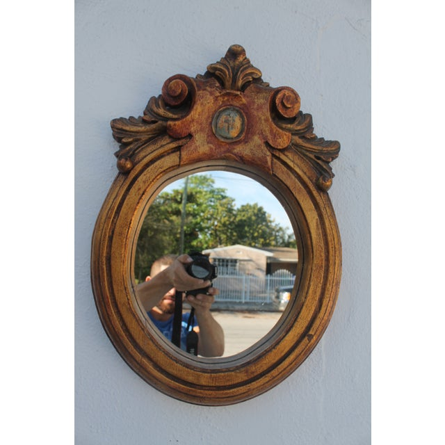 Antique Hand Carved Solid Wood Wall Mirror - Image 8 of 8