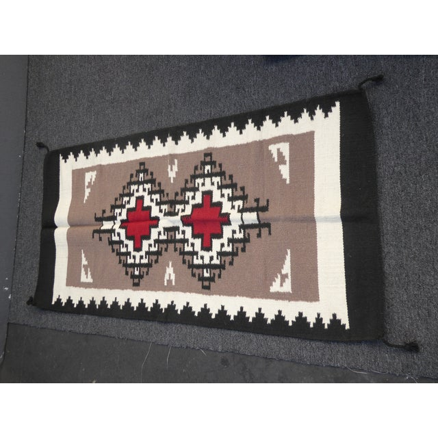 "Southwestern Style Geometric Pattern Wool Blanket or Tapestry In New Condition Measurements: 63""L x 32""W Please keep in..."