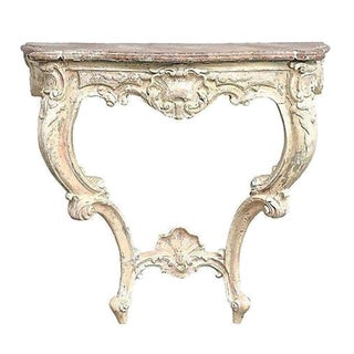 Antique Shell Motif Carved Wooden Wall Console For Sale