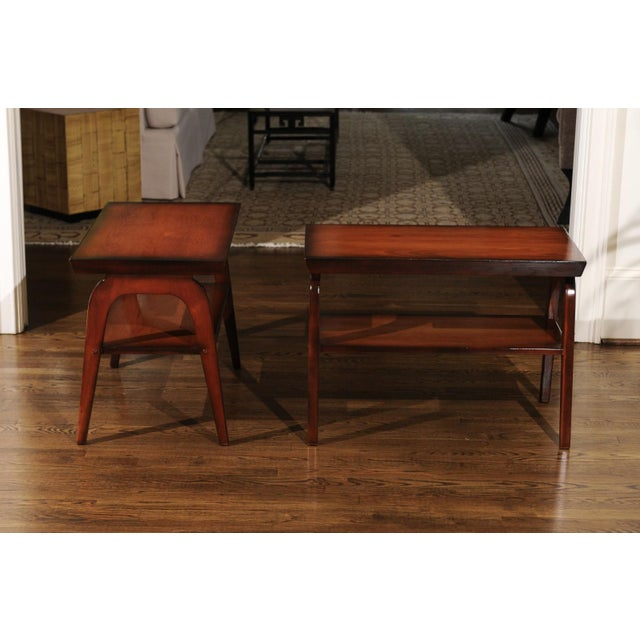 1950s 1954 Restored Pair of End Tables by John Wisner for Ficks Reed For Sale - Image 5 of 13