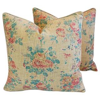 """Ralph Lauren Floral Linen & Velvet Feather/Down Pillows 24"""" Square - Pair"""