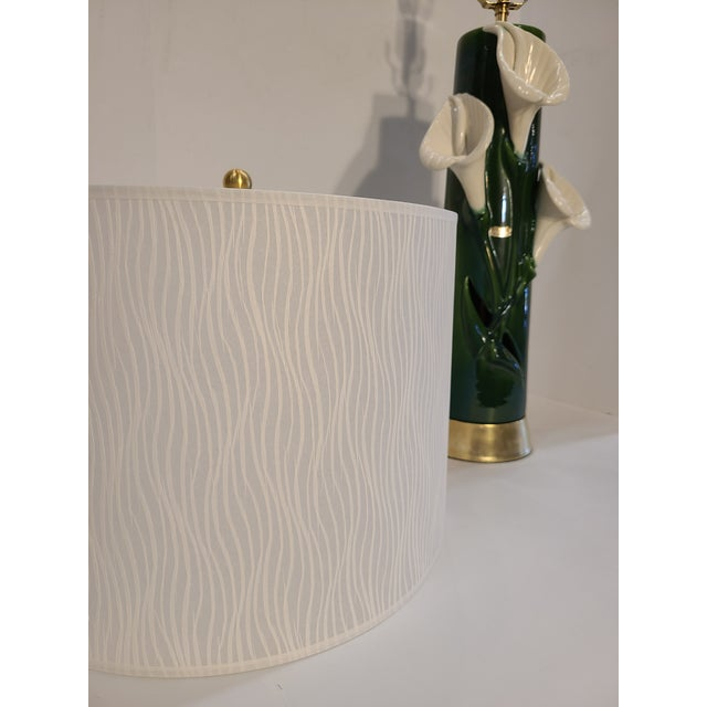 Metal Peace Lily Ceramic Lamp With Shade by Haeger For Sale - Image 7 of 13