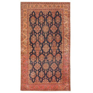 Antique Early 20th Century Oversize Persian Kashan Carpet For Sale