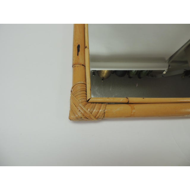 Country Vintage Rectangular Bamboo Mirror For Sale - Image 3 of 6