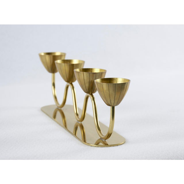 1950s Vintage Gunnar Ander for Ystad Metall Swedish Modern Candelabra, 1950's For Sale - Image 5 of 9