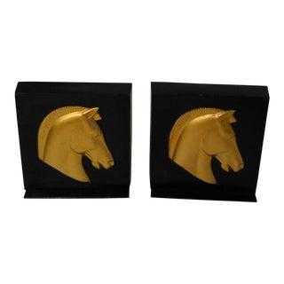 Hand Cast Metalware Horse Head Bookends
