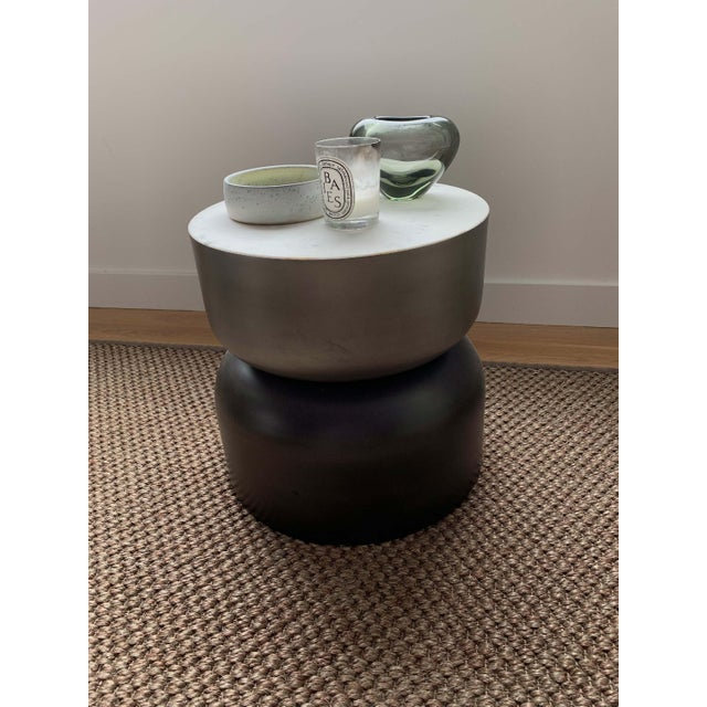 CB2 Minimalist Cb2 Marble and Metal Side Table For Sale - Image 4 of 7