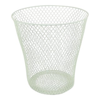 Sage Mint Green Painted Flat Wire Trash Can For Sale