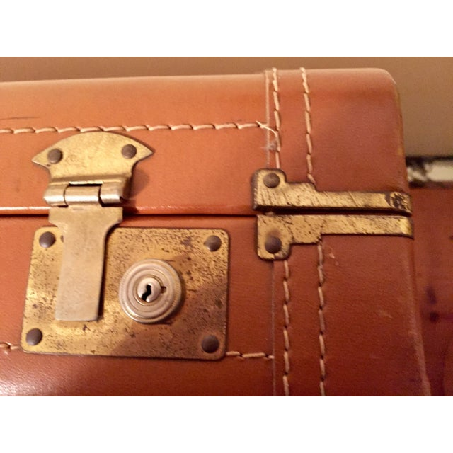 Vintage Cognac Leather Suitcase - Image 5 of 8