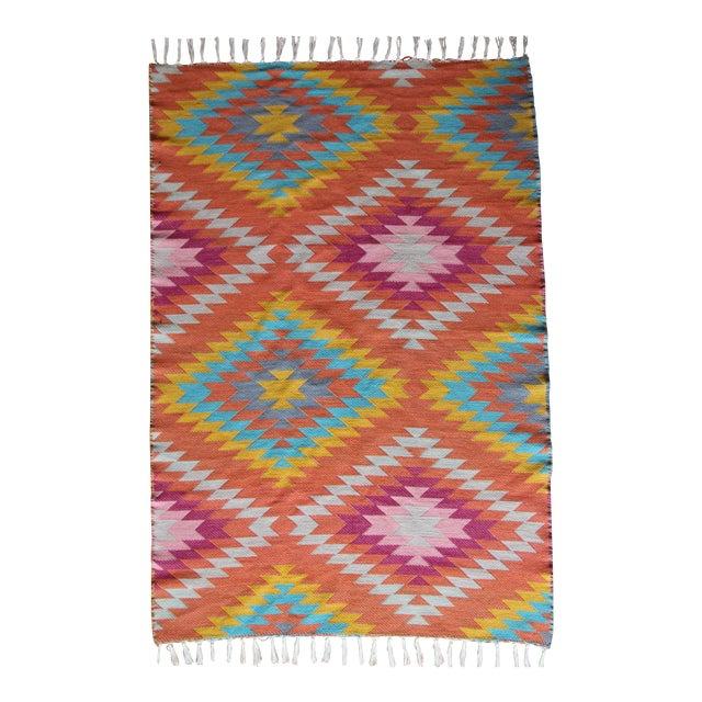 Rainbow Flat Weave Diamond Turkish Wool Kilim Rug - 4' x 6' - Image 1 of 12