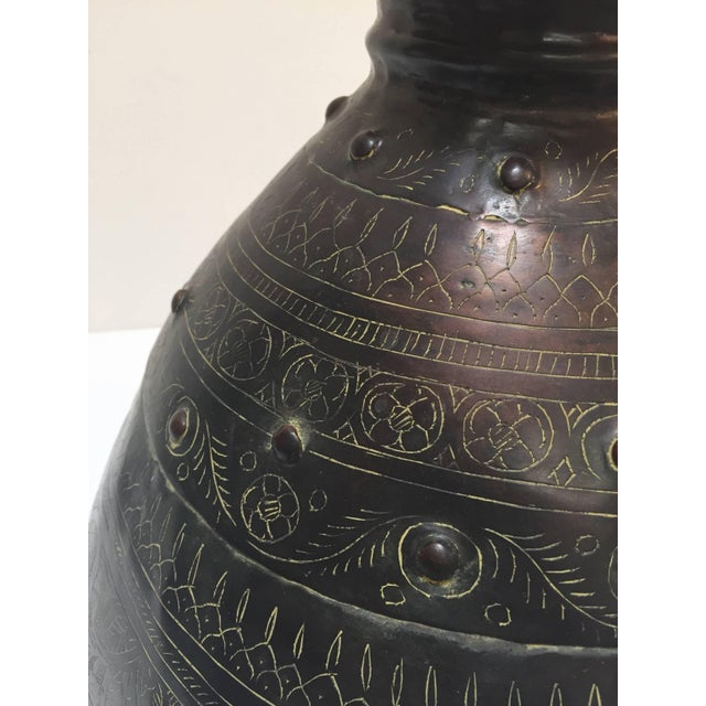 Large Indian Hand-Hammered Copper Jug With Asian Carvings For Sale - Image 9 of 13