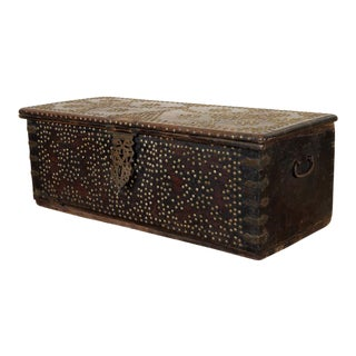Antique Brown Wood Studded Trunk For Sale