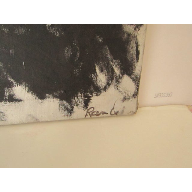Abstract Signed Original Black and White Oil Painting For Sale In West Palm - Image 6 of 7