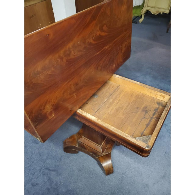 Brown Antique Empire Style Flip Top Mahogany Game Table For Sale - Image 8 of 11