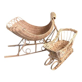 Vintage Boho Rattan Sleighs / Snow Sleds - a Pair For Sale