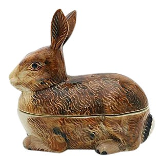 French Majolica Rabbit Pâté Tureen