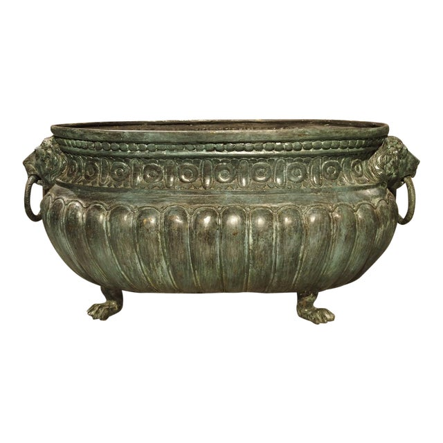 Large Antique Patinated Bronze Jardiniere From Italy, Circa 1890 For Sale
