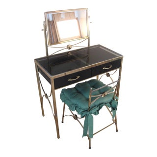 1960s Mid-Century Brass & Smoked Glass Vanity & Chair - A Pair