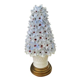 1950s Marbro Hand Applied Porcelain White Blossom Topiary Lamp For Sale
