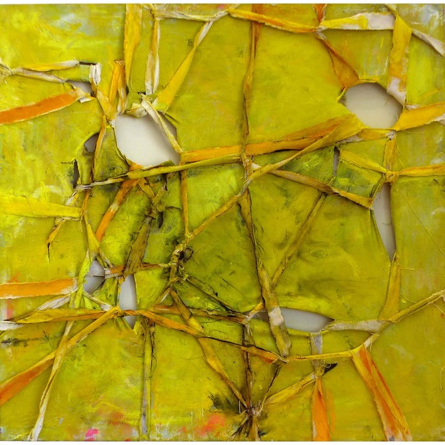 """Alfredo Ulloa """"Pierre (Yellow #1)"""" Abstract Painting - Image 1 of 8"""