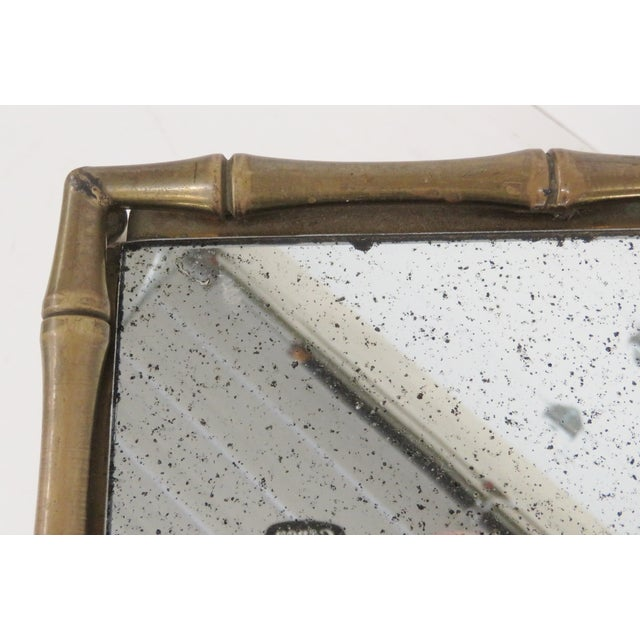 Brass Faux Bamboo & Eglomise Mirror Top Bar Cart For Sale - Image 4 of 4