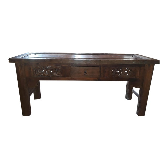 Vintage Carved Teak Console Table For Sale