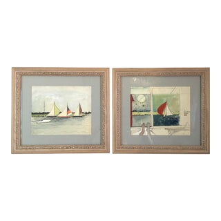 Watercolors Painted by Katherine Hepburn in Stratford Connecticut - A Pair For Sale