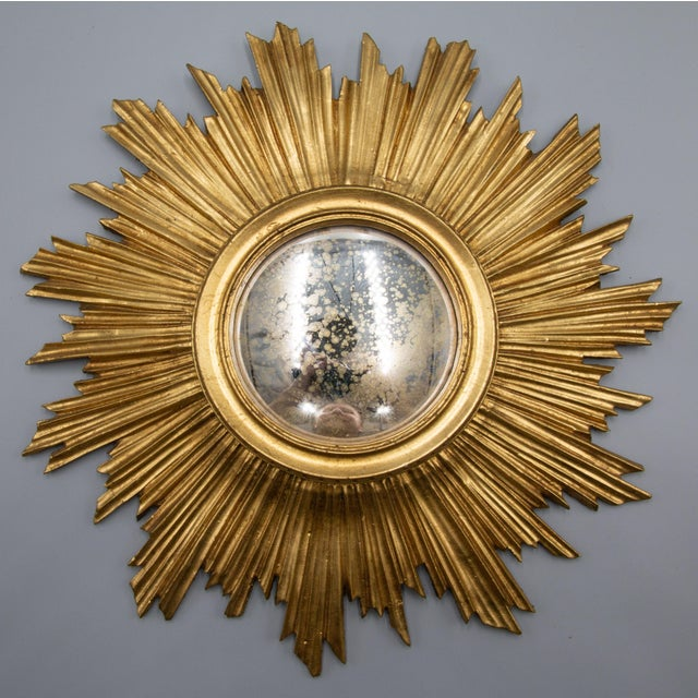 Vintage French Gilt Sunburst Convex Mirror For Sale In Houston - Image 6 of 6