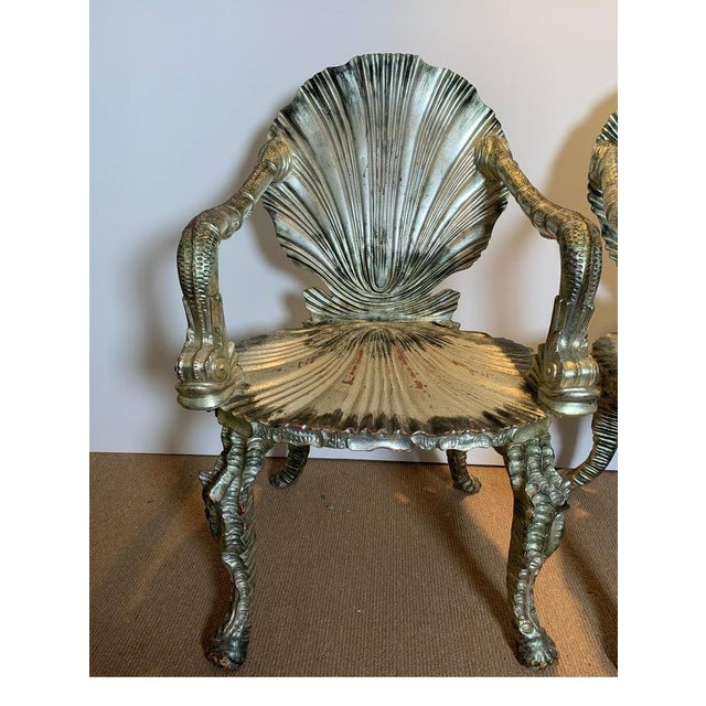 Early 20th Century Antique Silver Leaf Grotto Chairs- A Pair For Sale - Image 11 of 13