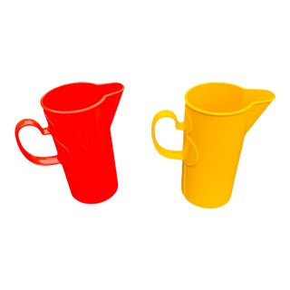 Dansk Designs Mid Century Modern Yellow and Red Plastic Pitchers - a Pair For Sale