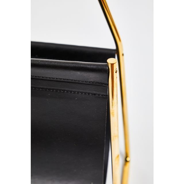 Black Carl Auböck Model #3808 Brass and Leather Magazine Rack For Sale - Image 8 of 11