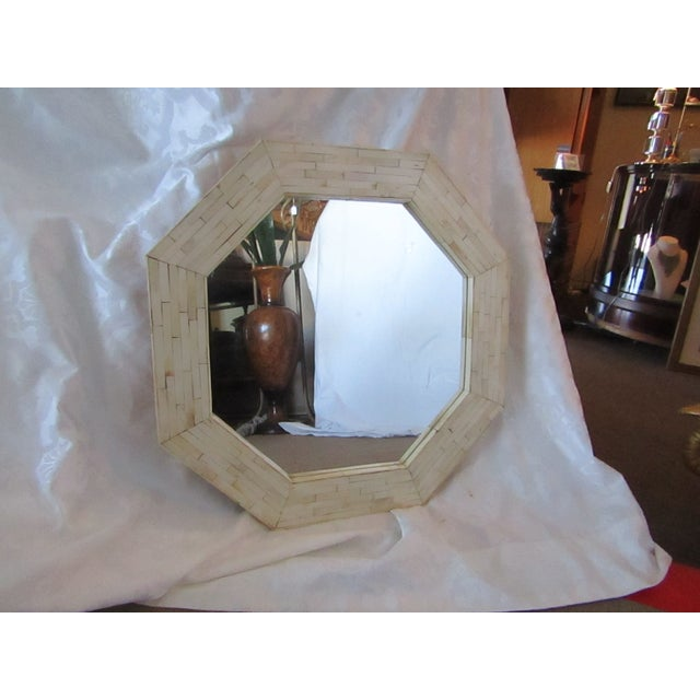 Patterned Bone Inlay Octagon Mirror - Image 2 of 4