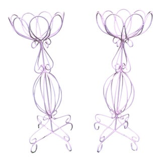 Cotton Candy Pink Metal Plant Stands - a Pair For Sale