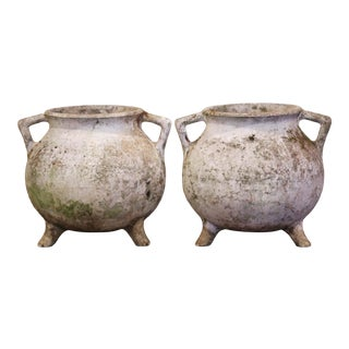 Early 20th Century Carved and Weathered Concrete Planters - a Pair For Sale
