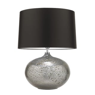 Silver Glass Table Lamp With Shade For Sale