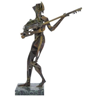 Vintage Mid-Century Brutalist Pierced Brass Metal Guitar Player Sculpture For Sale