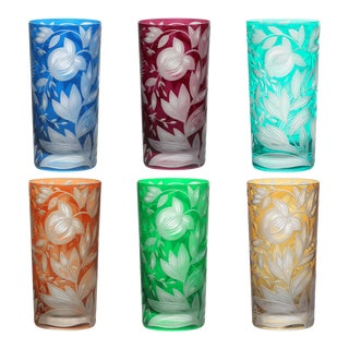 Verdure Highball Glasses, Set of 6, Bright Colors (Amber, Azure, Emerald, Fuchsia, Orange and Teal) For Sale