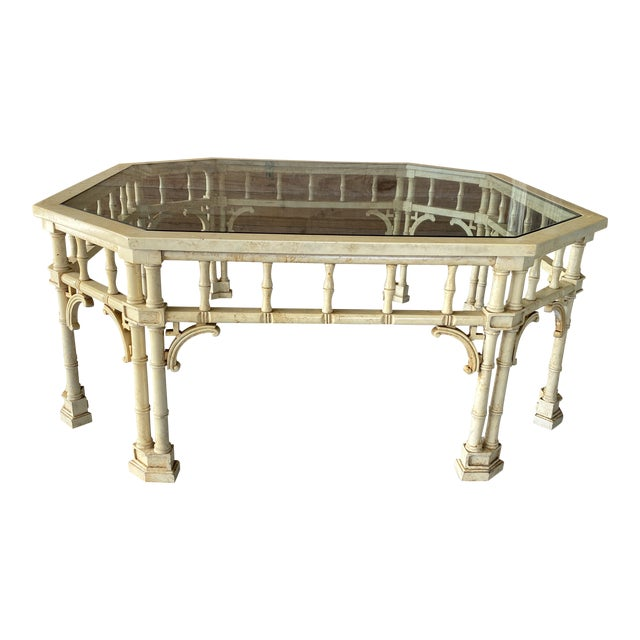 Vintage Faux Bamboo Fretwork Coffee Table For Sale