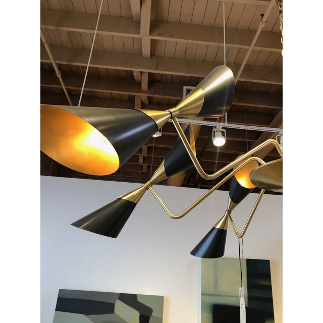 Mid-Century Modern Modern Black Conical Shade Mid Century Chandelier For Sale - Image 3 of 6