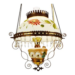 Antique Cox, Parish & Unger Electrified Hanging Oil Lamp For Sale