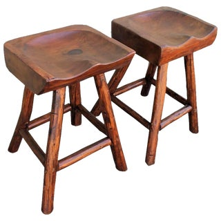 Rustic Hickory by Rittenhouse Plank Seat Bar Stools For Sale