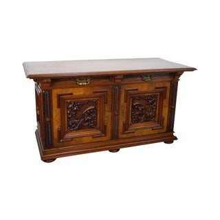 Renaissance Revival Carved Sideboard Cabinet For Sale