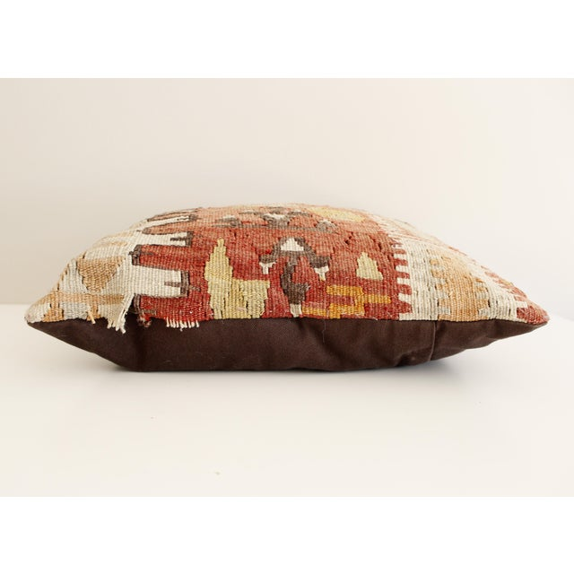 Boho Chic Vintage Turkish Kilim Pillow Multi Color Reds Brown Bohemian Mid Century For Sale - Image 3 of 5