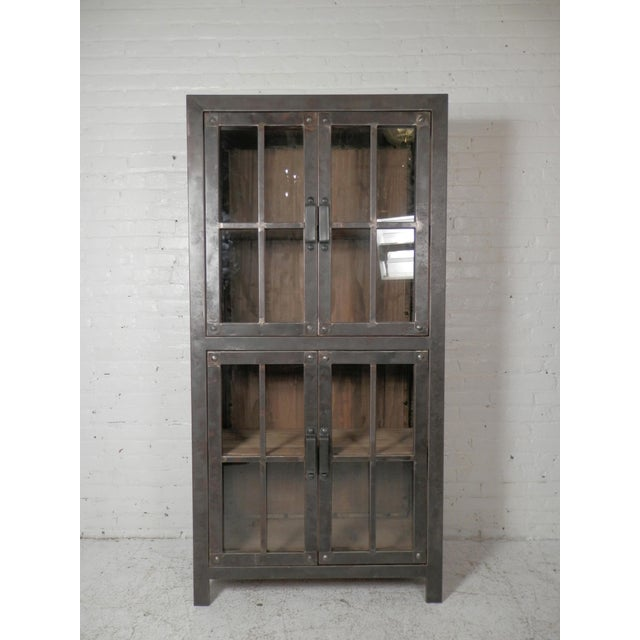 Reclaimed Iron and Wood Glass Door Cabinet - Image 2 of 8