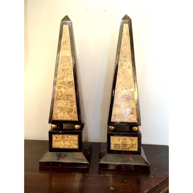 Late 20th Century Pair of Maitland-Smith Tessellated Shell and Marble Obelisks For Sale - Image 5 of 5