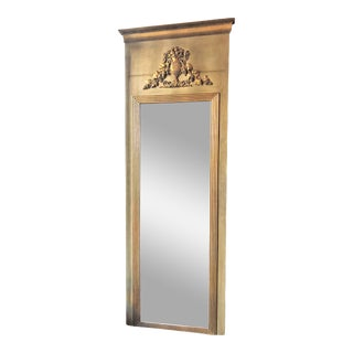 Antique French Painted Pier Mirror, Mercury Glass, Circa 1790-1810.