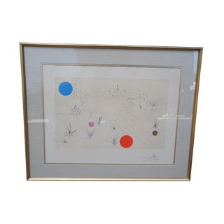"1970s Salvador Dali ""Museum of Science and Industry"" Hand Signed Artist's Proof Etching For Sale"