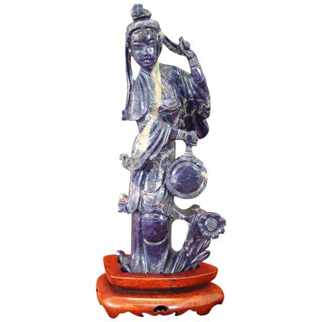20th Century Chinese Sculpture in Lapis Lazuli Geisha Figure For Sale